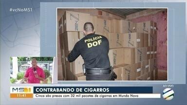 Cinco são presos com 32 mil pacotes de cigarros em Mundo Novo - Flagrante foi depois de barreira da operação Hórus na BR-163