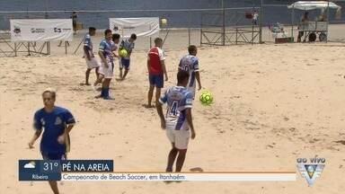 Campeonato de Beach Soccer agita arena em Itanhaém - Arena onde acontece o campeonato fica na Boca na Barra.