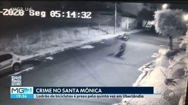 Homem é preso por furtar bicicletas em condomínios de Uberlândia - Suspeito foi abordado enquanto tentava abrir o portão de um prédio no Bairro Santa Mônica. Segundo a Polícia Militar, é a quinta vez que o homem foi preso em menos de um mês.