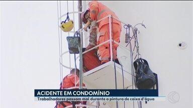 Trabalhadores são socorridos após passarem mal em caixa d'água de condomínio em Uberlândia - Eles faziam pintura na parte interna do local quando perderam a consciência. MRV enviou nota sobre a ocorrência.