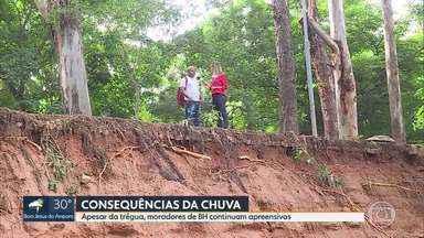 Apesar da trégua da chuva, moradores de BH continuam apreensivos - Na região Centro-Sul, vizinhos da barragem Santa Lúcia acompanham nível da água.