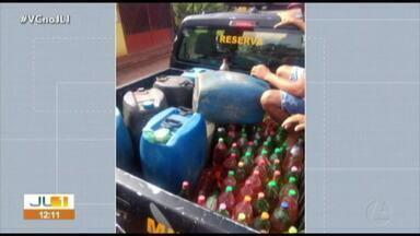 Homem é preso por venda ilegal de combustível na ilha de Cotijuba, em Belém - Homem é preso por venda ilegal de combustível na ilha de Cotijuba, em Belém