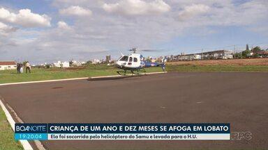 Uma criança se afogou na piscina e teve que ser socorrida pelo helicóptero do Samu - Ela foi levada pro H.U. em Maringá