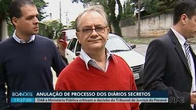 OAB e MP criticam decisão do TJ de anular sentença que condenou Bibinho - Caso ficou conhecido como Diários Secretos há dez anos.