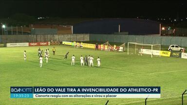 Leão do Vale vence mais uma, no Paranaense - Com a vitória sobre o Athletico Paranaense o time foi para a 5° posição da tabela.