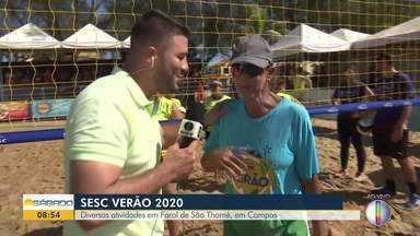 Diversas atividades agitam o Sesc Verão na Praia do Farol de São Thomé, em Campos - Medalhista olímpica no vôlei de praia Jackie Silva está presente no evento.