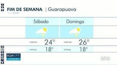 Fim de semana será chuvoso em Guarapuava - Em Irati temperatura máxima chega aos 26°C nesse sábado.