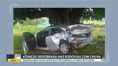 Aquaplanagem causou acidente em Mirandópolis; atenção deve ser redobrada com chuva - Em Bernardino de Campos, um outro acidente matou um jovem de 23 anos.