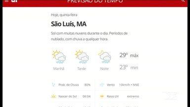Veja as variações das temperaturas no Maranhão - Confira a previsão do tempo nesta quinta-feira (6) em São Luís e também no interior do estado.
