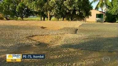 PE-75 acumula buracos e aumenta risco de acidentes e assaltos - Estrada fica entre as cidades de Goiana e Itambé, na Zona da Mata.