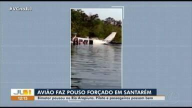 Avião bimotor faz pouso forçado em rio de Santarém - Avião bimotor faz pouso forçado em rio de Santarém