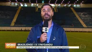 Brasiliense é eliminado da Copa do Brasil - Jacaré empata com Paysandu em 1 a 1 e cai na primeira fase da competição.