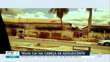 Telha cai na cabeça de adolescente durante aula em Acopiara - Confira mais notícias em g1.globo.com/ce