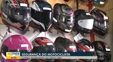 Conheça equipamentos que garantem a segurança de motociclistas no trânsito - Confira os detalhes com o repórter Hebert Araújo.