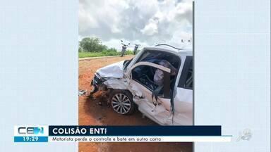 Motorista perde o controle e bate em outro carro em Catarina - Confira mais notícias em g1.globo.com/ce
