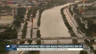 Meteorologistas alertam que chuvas fortes serão mais frequentes em São Paulo - Meteorologistas do Centro Nacional de Monitoramento de Desastres Naturais dizem que número de dias de chuva forte na capital triplicou em 70 anos.