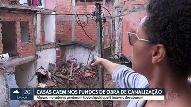 Obra da prefeitura para canalização de um córrego na Zona Sul afeta pelo menos oito casas - Moradores do Jardim São Francisco dizem que imóveis desabaram depois do início das obras no último fim de semana.
