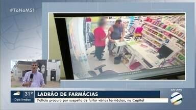 Polícia procura por suspeito de furtar várias farmácias em Campo Grande - Imagens de câmeras de segurança mostram o homem cometendo o crime nas lojas.