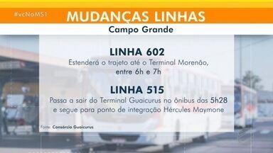 Mais mudanças nos ônibus de Campo Grande - Linha que do distrito de Anhanduí agora passa no terminal Morenão entre 6h e 7h.