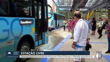 Estação Livre, em Nova Friburgo, RJ, é liberada parcialmente - Setor norte da Estação foi liberado, mas o setor sul da parada de ônibus ainda está em obras.