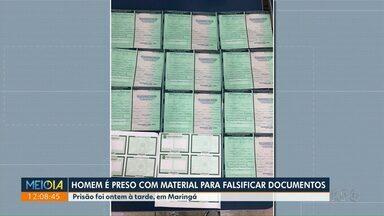Polícia prende suspeito de falsificar documentos em Maringá - Homem estava com vários 'espelhos' de documentos.