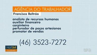 Confira as vagas de emprego abertas na agência do trabalhador - Oportunidades são nas agências de Francisco Beltrão, Foz do Iguaçu e Capanema.