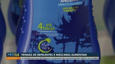 Vendas de repelentes e máscaras aumentam em Cascavel - Aumento nos casos de dengue e surgimento do coronavírus têm reflexo nas vendas.