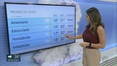 Região de Campinas pode ter temporais no fim de semana; veja a previsão para sábado (15) - Em Piracicaba, mínima será de 18ºC e máxima de 31ºC.