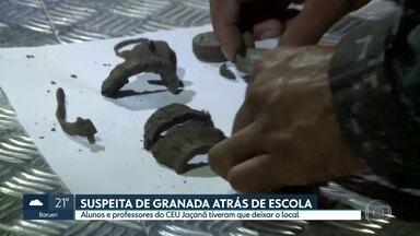 Suspeita de granada atrás de escola - Alunos e professores do CEU Jaçanã tiveram que deixar o local. Gate vai investigar artefato encontrado em terreno.