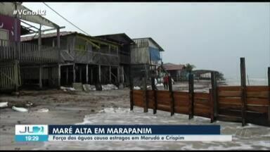 Chuva e força da água causam prejuízos na orla de Marapanim, no Pará - Nas praias de Marudá e Crispim, já são cinco dias de maré alta.