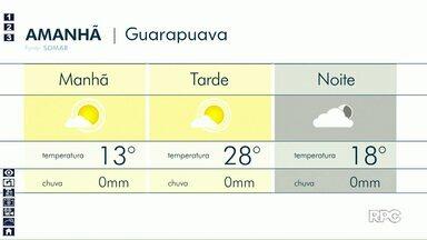 Sábado será de tempo firme em Guarapuava - Os termômetros variam entre 13° e 28°.