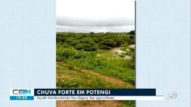 Chuva forte em Potengi faz açude na zona rural sangrar - Saiba mais em g1.com.br/ce