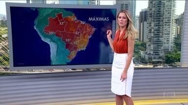 Veja a previsão do tempo para esta quarta-feira (19) em todo o país - A temperatura chega a 38 °C no Rio de Janeiro e 33 ºC em Cuiabá. À tarde, chove forte em São Paulo, Mato Grosso do Sul, Paraná, Santa Catarina e no Norte gaúcho.