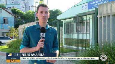 Preocupação com o avanço da febre amarela faz disparar procura por vacina na Serra - Assista ao vídeo.