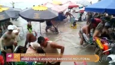 Meteorologista explica fenômeno da ressaca que pegou banhistas de surpresa no Guarujá - Maré aumentou muito rapidamente no litoral paulista e também no Rio de Janeiro