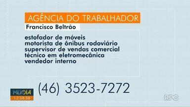 Confira as vagas abertas nas agências do trabalhador da região oeste e sudoeste - Vagas são para Foz do Iguaçu, Francisco Beltrão e Pato Branco.