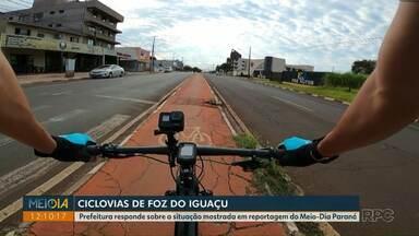 Prefeitura comenta situação das ciclovias mostradas em reportagem do Meio-Dia Paraná - Ciclistas enfrentam obstáculos nas pistas, além de motoristas sem respeito.