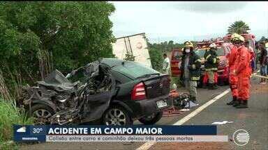 Acidente entre carro e caminhão deixa 3 mortos na BR-343 em Campo Maior - Acidente entre carro e caminhão deixa 3 mortos na BR-343 em Campo Maior