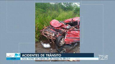 PRF registra vários acidentes nas rodovias federais do MA entre quarta e quinta - O mais recente aconteceu durante a tarde desta quinta, entre um carro e um ônibus.