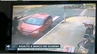 Ladrões assaltam agência da Caixa em Guariba, SP - Grupo armado invadiu banco na tarde desta quinta-feira (27). Uma pessoa ficou ferida.