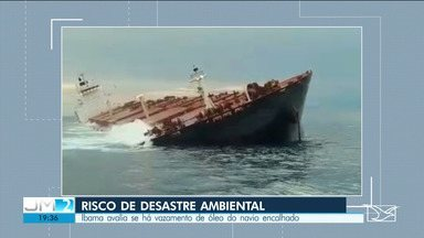 Ibama avalia risco de desastre ambiental por navio encalhado na costa do MA - Há suspeita de um vazamento de óleo.