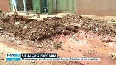 Obra de drenagem parada preocupa moradores de Montes Claros - Intervenção está sendo feita no Bairro Santa Lúcia 2.