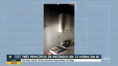 Bombeiros atendem três princípios de incêndio em 12 horas em Balneário Camboriú - Bombeiros atendem três princípios de incêndio em 12 horas em Balneário Camboriú; em dois dos casos, panelas foram esquecidas no fogão