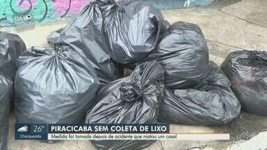 Piracicaba está sem coleta de lixo após acidente que matou um casal - Nesta sexta-feira (28), o município amanheceu sem coleta de lixo, pois a empresa responsável retirou todos os caminhões para manutenção.