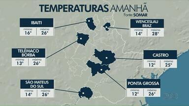 Veja como fica o tempo na região dos Campos Gerais neste fim de semana - Em Ponta Grossa, temperaturas devem variar entre 12°C e 26ºC no sábado (29).