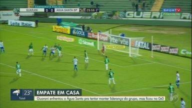 Empate segura Guarani e Água Santa no Paulistão - Equipes tiveram boas oportunidades para marcar, mas ficaram no zero a zero no Brinco de Ouro. Resultado amplia jejum do Bugre na reta final do campeonato.