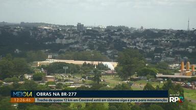 Trecho da BR-277 em Cascavel está em obras neste sábado (29) - O trânsito no trecho entre o posto Rosário e a passarela do bairro Guarujá está em sistema siga e pare.