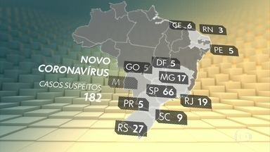 Número de casos suspeitos de coronavírus no Brasil sobe para 182 - O Ministério da Saúde alerta que só deve procurar atendimento médico a pessoa que teve contato com caso confirmado ou suspeito de coronavírus, que viajou para países com surto da doença e apresente sintomas parecidos com os da gripe.