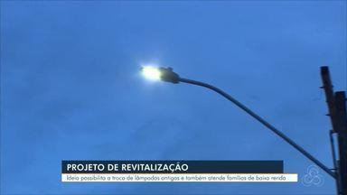 Projeto de revitalização de lâmpadas em Candeias do Jamari - Projeto é uma parceria entre prefeitura do município e Energisa.