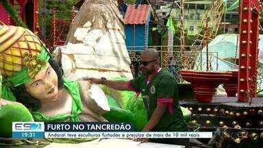 Esculturas roubadas da Andaraí, em Vitória, são recuperadas - Presidente da escola de samba disse que 80% do material furtado foi recuperado. Ele estava em um terreno no bairro Santa Mônica, em Vila Velha.